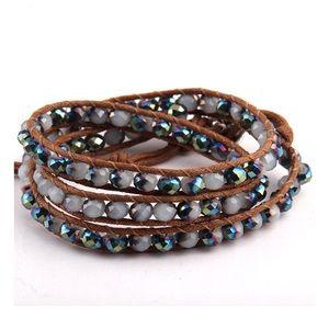 Beaded crystal wrap bracelet